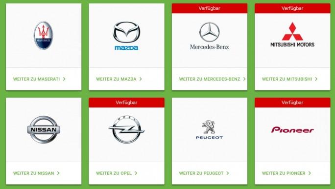 Einige Android-Auto-Partner (Screenshot: ZDNet)