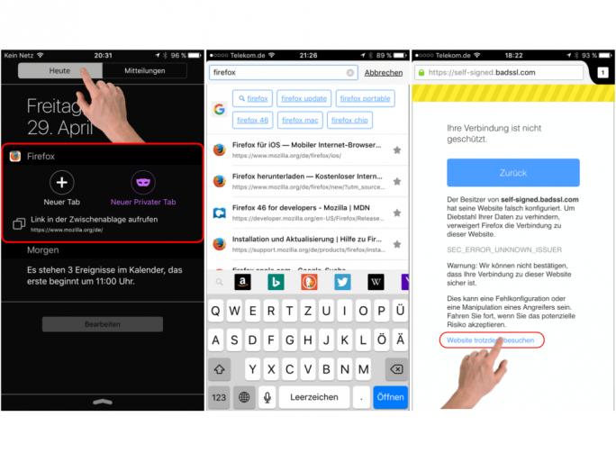 Firefox 4 für iOS (Screenshots: Mozilla)