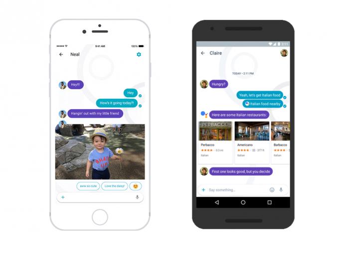Google Allo nutzt maschinelles Lernen, um in einer Konversation Antworten und auch Restaurants vorzuschlagen (Bild: Google).