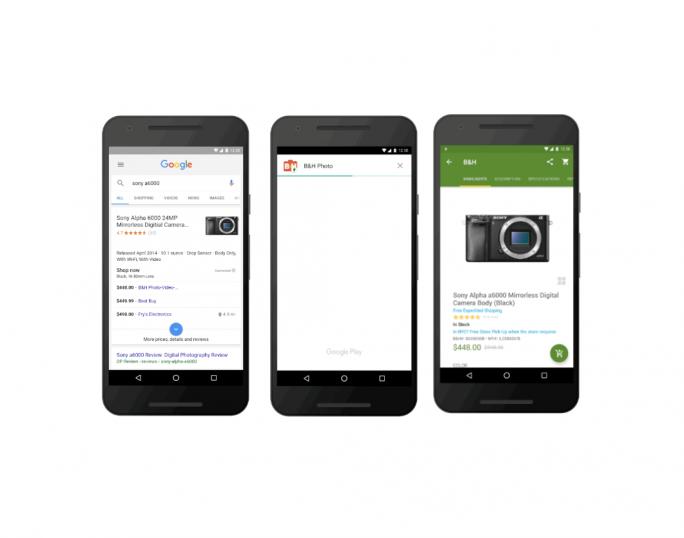 Android kann künftig nach einem Klick auf einen Link beispielsweise die Instant App eines Shops herunterladen und ausführen, ohne dass die zugehörige Anwendung installiert werden muss (Bild: Google).