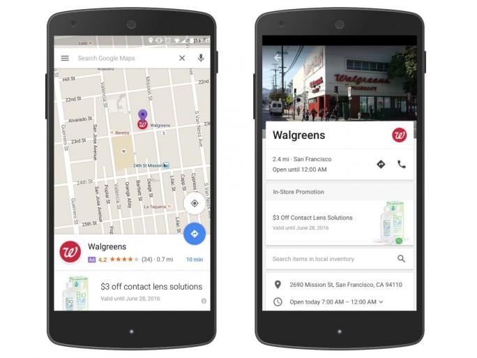 Google experimentiert aktuell mit Werbepins auf Maps-Karten (Bild: Google).