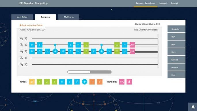 Benutzeroberfläche von IBMs Quantum Experience (Bild: IBM)