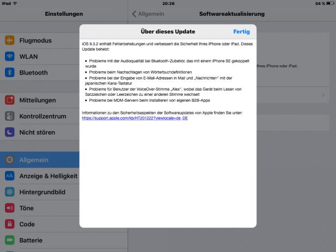 iOs 9.3.2 (Screenshot: ZDNet.de)