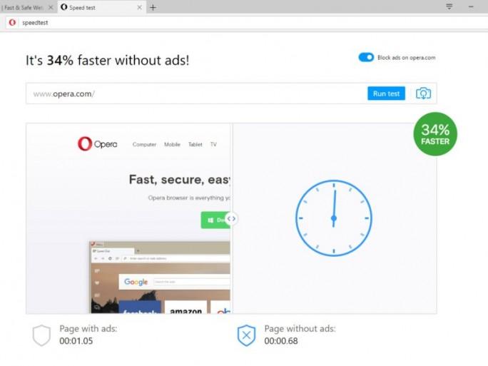 Mit einem Geschwindigkeitstest demonstriert der Browserhersteller die Beschleunigung (Bild: Opera).