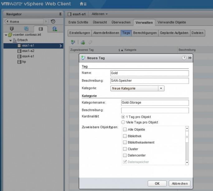 Für Datenspeicher können Markierungen hinterlegt werden, um VM-Speicherrrichtlinien zu verwenden und zu steuern (Screenshot: Thomas Joos).