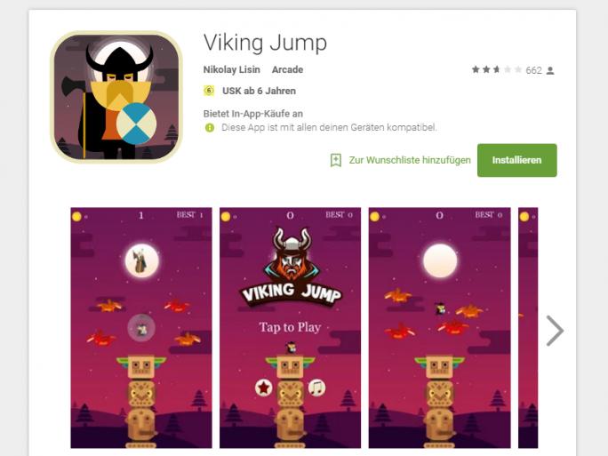 """Das im Play Store erhältliche Spiel """"Viking Jump"""" installiert die Malware """"Viking Horde"""" auf Android-Geräten (Screenshot: ZDNet.de)."""