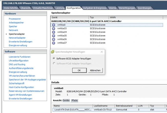 Im vSphere-Client lassen sich die Speicheradapter von VMware verwalten und Software-Adapter für iSCSI hinzufügen (Screenshot: Thomas Joos).