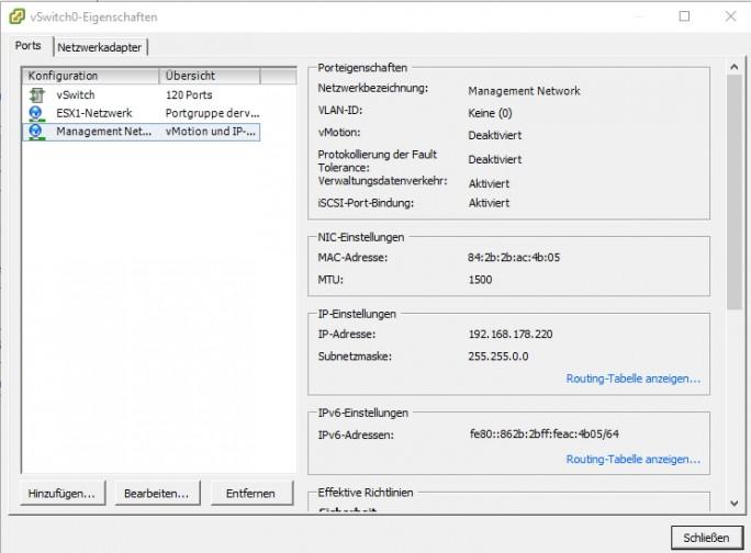 In der Portgruppe wird die erfolgreiche Aktivierung von iSCSI ebenfalls angezeigt (Screenshot: Thomas Joos).