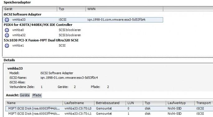 Im vSphere-Client binden Administratoren über den iSCSI-Adapter die einzelnen iSCSI-Ziele an. Nach erfolgreicher Anbindung, erscheinen die erstellten Volumes (Screenshot: Thomas Joos).