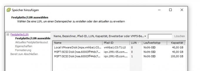 iSCSI-Speicher lässt sich an vSphere genauso anbinden, wie lokale Datenträger (Screenshot: Thomas Joos).