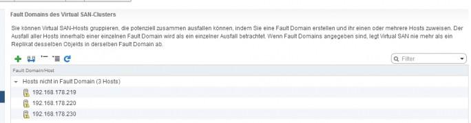 Fault Domains helfen dabei vSphere-Hosts in einem vSAN voneinander zu trennen (Screenshot: Thomas Joos).