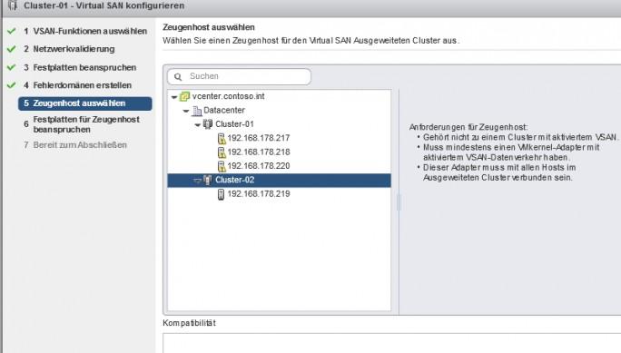 Über den Assistenten zur Einrichtung eines vSANs lassen sich auch Stretched-Cluster erstellen, die sich über mehrere Rechenzentren verteilen (Screenshot: Thomas Joos).