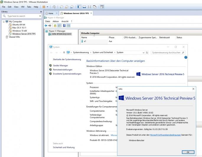 Mit VMware Workstation kann Hyper-V in Windows Server 2016 TP5 problemlos installiert und getestet werden (Screenshot: Thomas Joos).