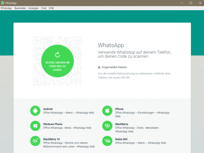 WhatsApp für Desktops (Screenshot: ZDNet.de)
