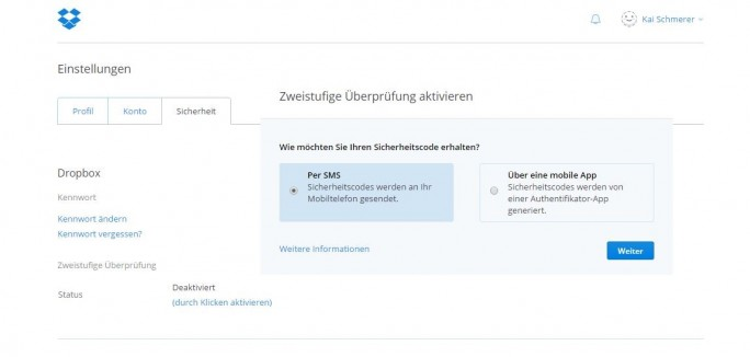 Dropbox: Zwei-Faktor-Authentifizierung (Screenshot: ZDNet.de)