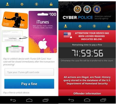 FLocker sperrt den Bildschirm und fordert die Zahlung von 200 Dollar in Form von iTunes-Gutscheinkarten (Bild: Trend Micro).