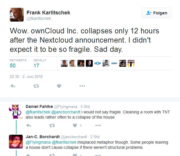 Die Auseinandersetzung zwischen ownCloud und Nextcloud hat bereits ein erstes Opfer gefordert: Die ownCloud Inc in den USA musste schließen (Screenshot: silicon.de bei Twitter).