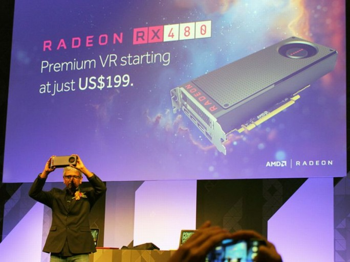 Raja Koduri präsentierte die Radeon RX 480 auf der Computex in Taipeh (Bild: ZDNet.com)