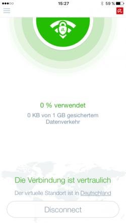 Auch unter iOS können Nutzer von Avira Phantom VPN zwischen verschiedenen virtuellen Standorten wählen (Bild: Avira).