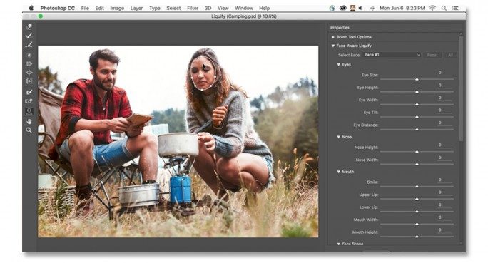 Face-Aware Liquify erkennt Gesichtspartien und ermöglicht Modifikationen (Bild: Adobe).