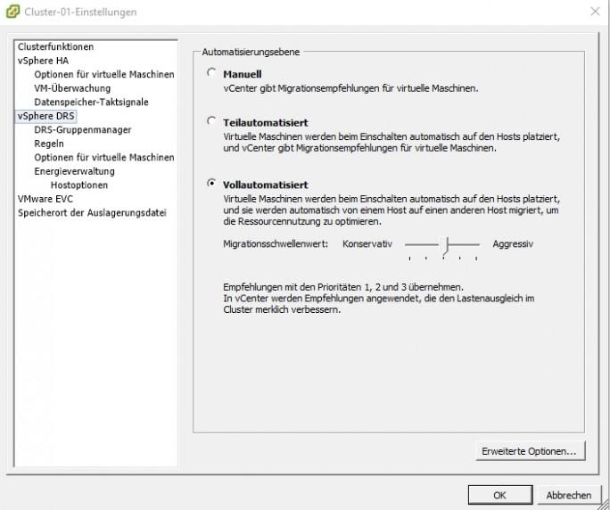 Mit vSphere DRS steuern Administratoren die Automatisierungsebene für den Cluster. Generell können Unternehmen DRS manuell nutzen oder voll automatisiert (Screenshot: Thomas Joos).