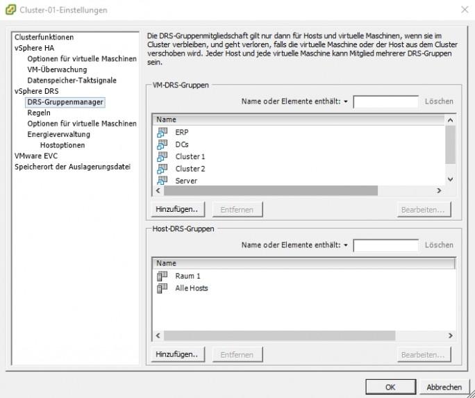 Im DRS-Gruppenmanager in den Einstellungen eines DRS-Clusters werden verschiedene Gruppen von VMs und Hosts festgelegt (Screenshot: Thomas Joos).