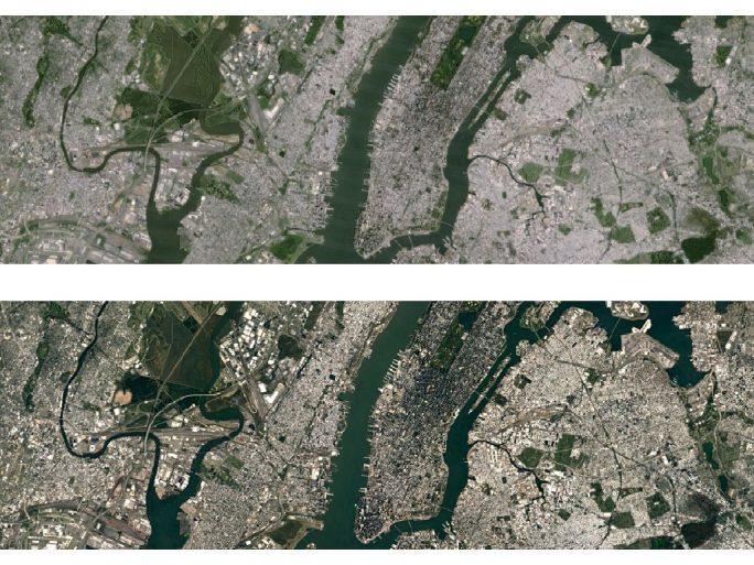 Die alte (oben) und neue Satellitenansicht von New York City im Vergleich (Bild: Google)