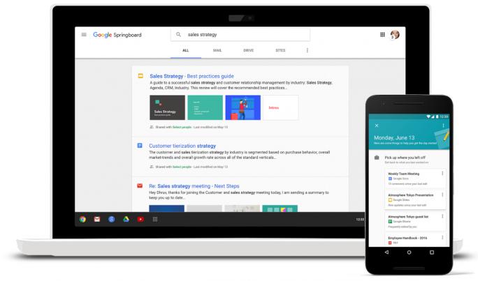 Springboard stellt Geschäftsanwendern proaktiv nützliche Informationen bereit und gibt Empfehlungen für den Arbeitsalltag (Bild: Google).