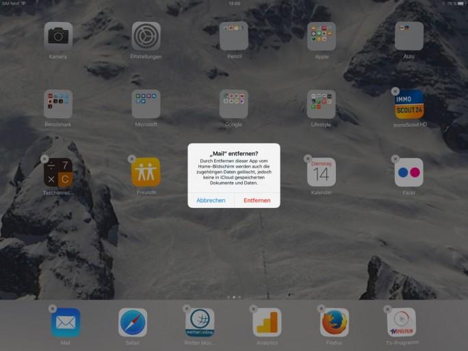 iOS 10 ermöglicht das Entfernen von vorinstallierten Apps (Screenshot: ZDNet.de)