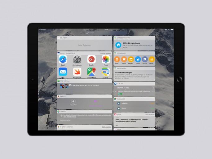 iOS 10: Widget-Ansicht auf dem Homescreen (Bild: ZDNet.de)