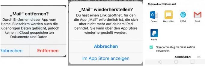 iOS 10: Apps deaktivieren verursacht Probleme (Screenshot: ZDNet.de)
