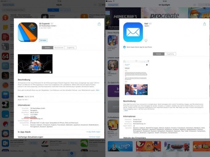 iOS 10: Gelöschte System-App ohne Größenangabe im App Store (Screenshot: ZDNet.de)