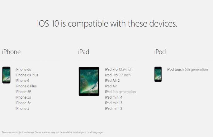 iOS 10 ist mit iPhone 5 und neuer, iPad 2 und neuer, iPad Air, iPad Pro, iPad 4 und iPod Touch 6 kompatibel (Bild: Apple).