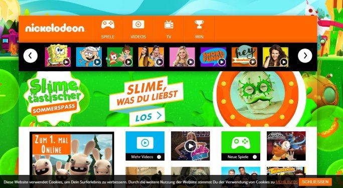 Nick.com und sein deutschsprachiges Pendant Nick.de verwenden Cookies, um Sehgewohnheiten von Kindern zu tracken (Screenshot: ZDNet.de).