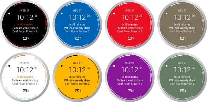 Nutzer können das interaktive Zifferblatt farblich anpassen (Bild: Microsoft).
