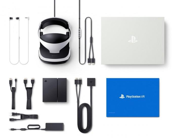 Im Lieferumfang der Playstation VR sind neben dem Headset selbst die Prozessoreinheit, Stereo-Ohrhörer, HDMI-, USB-, Anschluss- und Netzkabel sowie ein Netzteil enthalten (Bild: Sony).