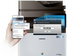 Die Freigabe eines Ausdrucks via PrinterOn erfodert standardmäßig die Eingabe eines PIN-Codes (Bild: Samsung).