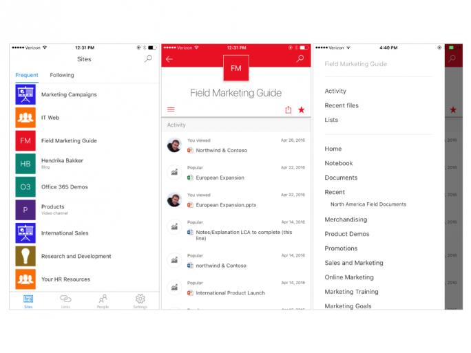 SharePoint für iOS (Bild: Microsoft)