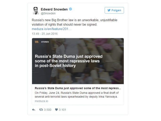 Snwoden kritisiert russsiches Gesetz Jarowaja (Screenshot: ZDNet.de)