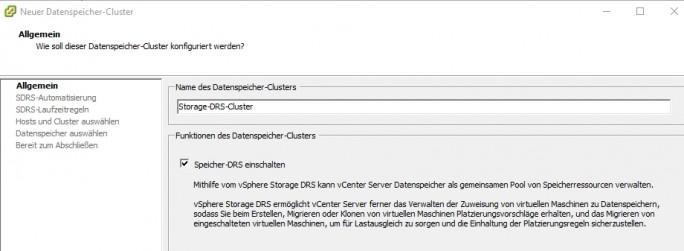 Storage-DRS aktivieren Administratoren im vSphere-Client über einen Assistenten (Screenshot: Thomas Joos).