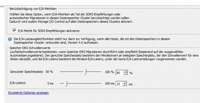 Bereits bei der Einrichtung von Storage DRS lassen sich Regeln für die Laufzeit konfigurieren (Screenshot: Thomas Joos).