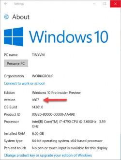 In den Systemeigenschaften wird erstmals die Versionsnummer 1607  angezeigt (Screenshot: ZDNet.com).