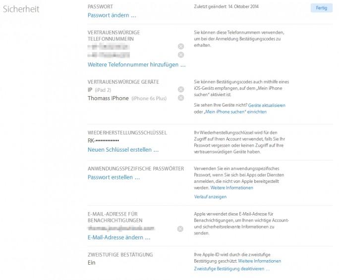 Auch Apple-Konten lassen sich mit der Zwei-Wege-Authentifizierung absichern (Screenshot: Thomas Joos).