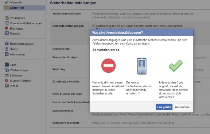 Auch in Facebook lässt sich die Zwei-Wege-Authentifizierung nutzen (Screenshot: Thomas Joos).