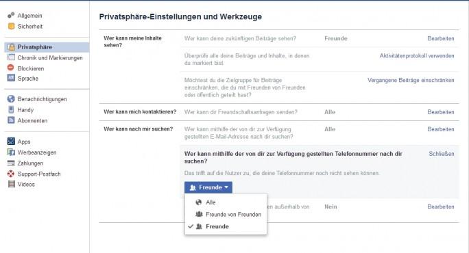 In Facebook sollten die Sicherheitseinstellungen für die eingetragene Handynummer optimiert werden (Screenshot: Thomas Joos).