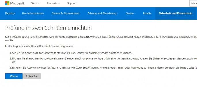 Microsoft-Konten lassen sich zuverlässig mit Zwei-Wege-Authentifizierung absichern (Screenshot: Thomas Joos).
