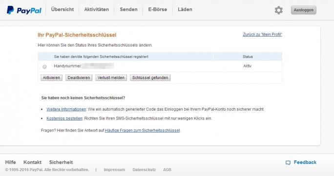 Mit einem Sicherheitsschlüssel aktivieren Anwender die Zwei-Wege-Authentifizierung in PayPal.