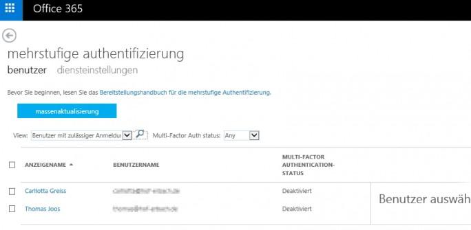 Mit der Mehrwege-Authentifizierung erhöhen Administratoren die Sicherheit für Benutzer in Office 365 (Screenshot: Thomas Joos).