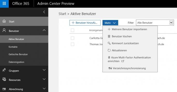 Im neuen Admin Center von Office 365 ist die Option zur Mehr-Faktor-Authentifizierung hinter einem weiteren Menüpunkt zu finden (Screenshot: Thomas Joos).