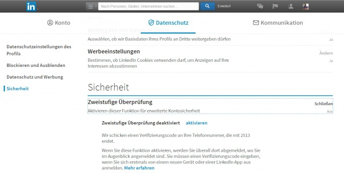 In den Optionen von LinkedIn aktivieren Anwender die Zwei-Wege-Authentifizierung (Screenshot: Thomas Joos).